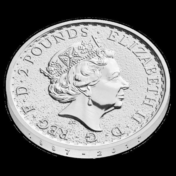 2017 Silver 1oz Britannia anniversary design edged '1997 – 2017' edge obv